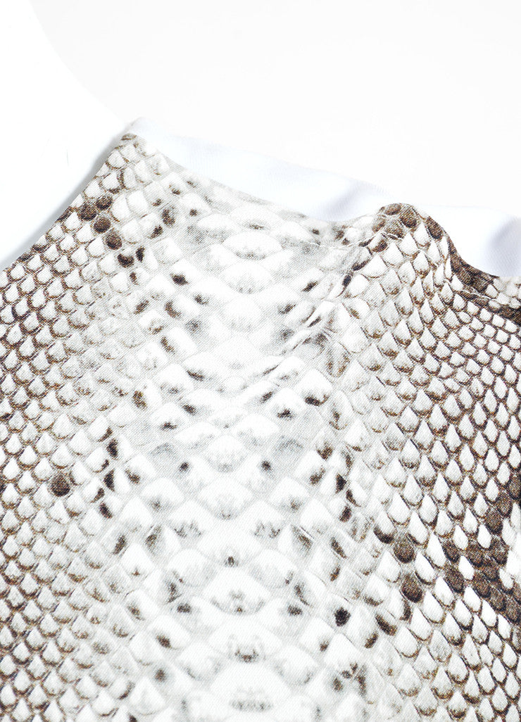 Carven Black, Grey, and White Python Print Long Sleeve Dress Detail