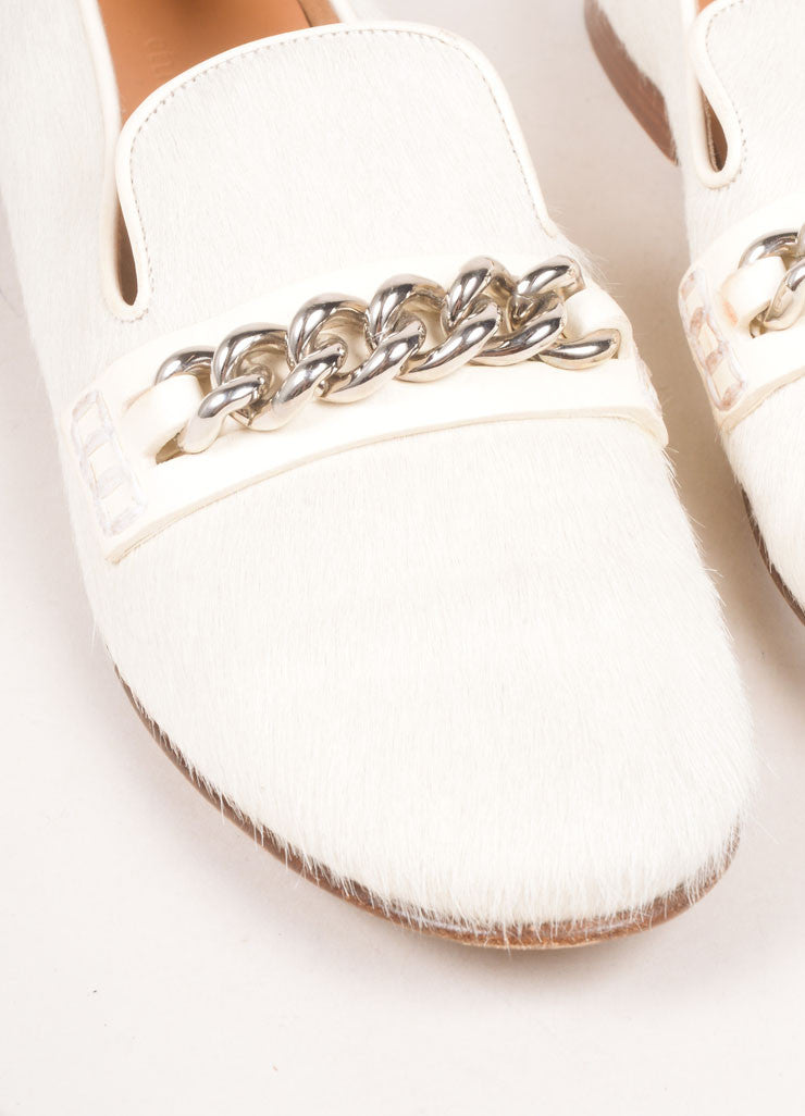 Celine Cream Pony Hair Chain Loafers Detail