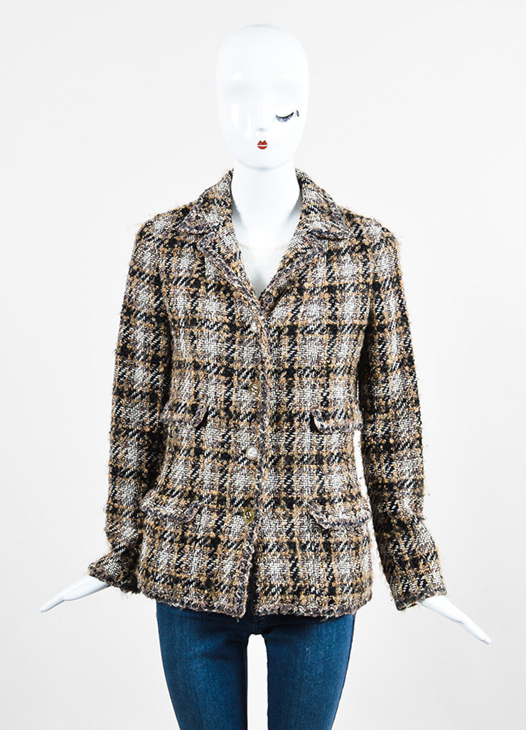 Black, Brown, and White Chanel Tweed 'CC' Button Jacket Frontview 2