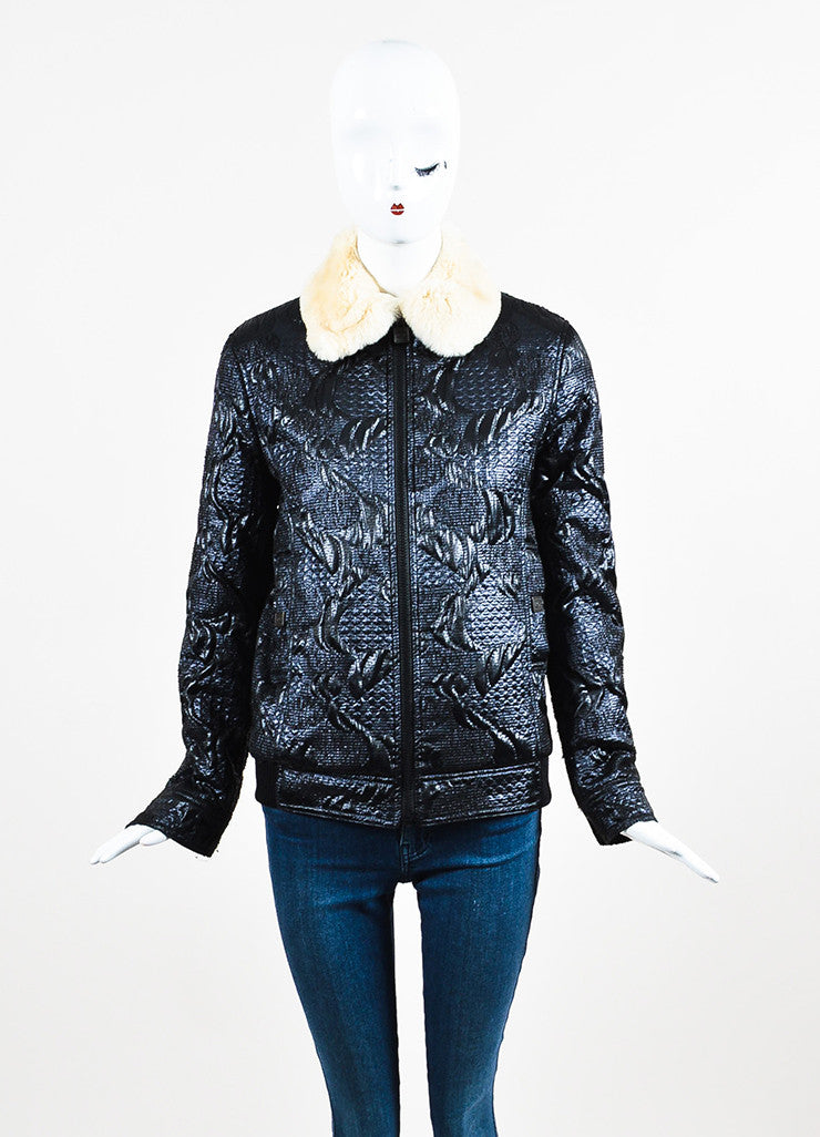 Chanel Blue, Black, and Cream Orlyag Fur Collar Textured Bomber Jacket Frontview 2