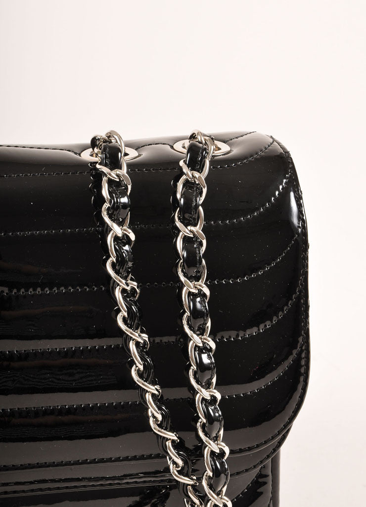 "Chanel Black and Silver Toned Quilted Patent Leather Chain Strap ""CC"" Flap Bag Detail 2"