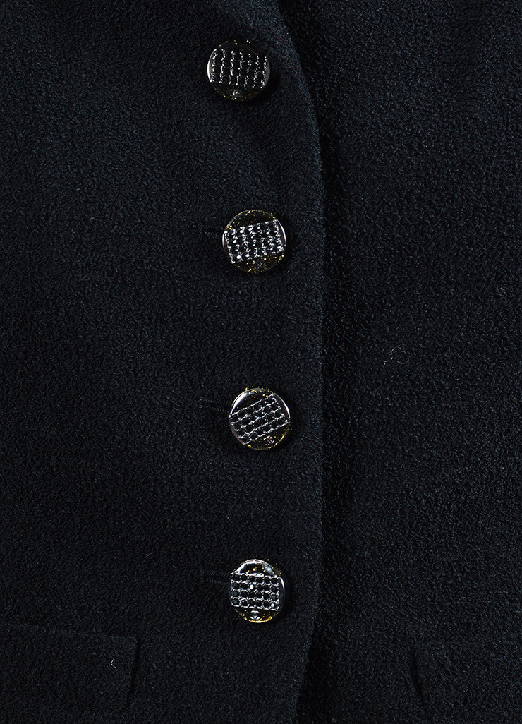 Chanel Black Wool Blend Boucle Rhinestone 'CC' Buttons Jacket Detail