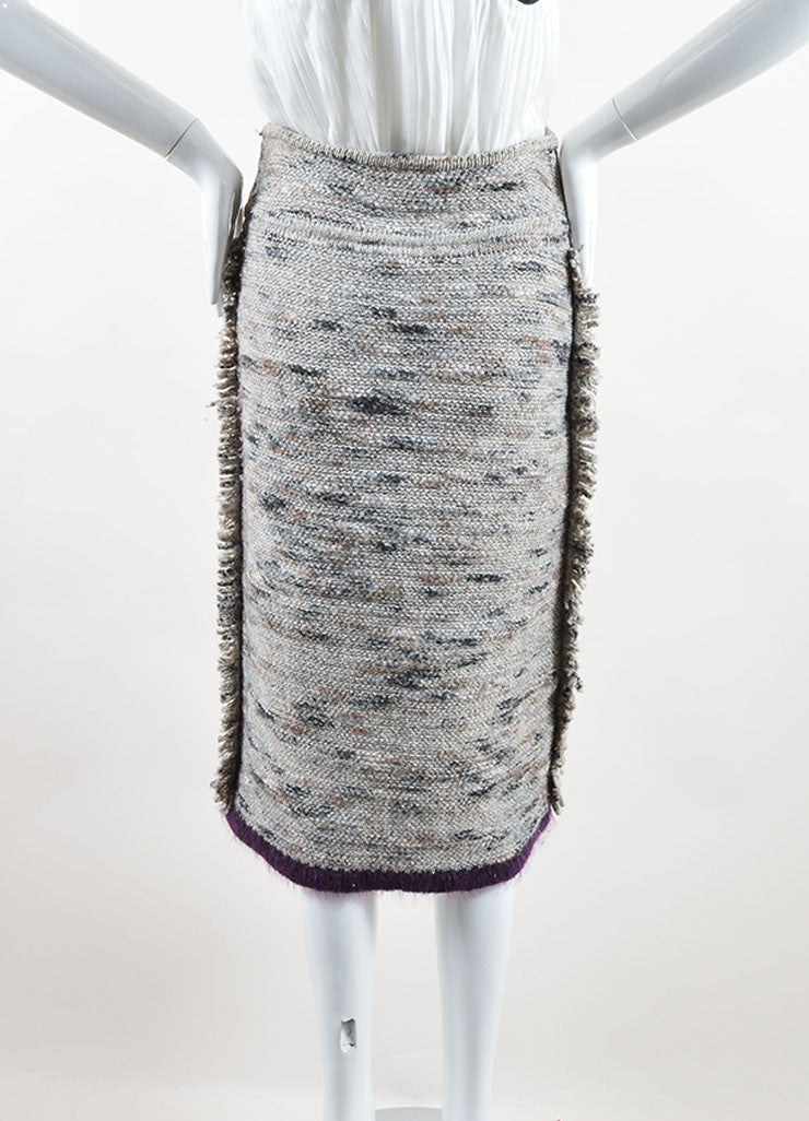 Chanel Grey and Purple Stretch Wool Fringe Pencil Skirt Backview