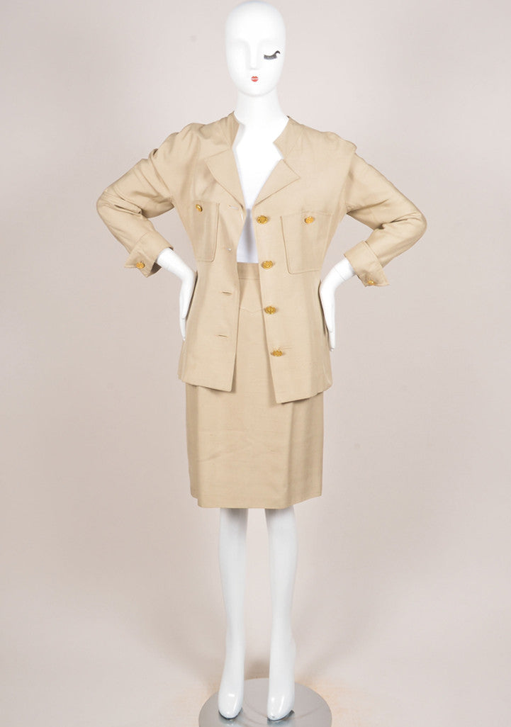 Chanel Khaki Gold Toned Coin Button Skirt Suit Frontview