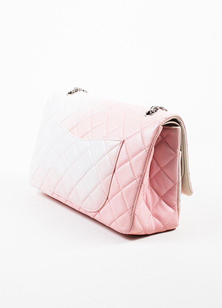 "Chanel Pink and White Leather Ombre Degrad̩ ""2.55 Reissue 227"" Jumbo Double Flap Bag Sideview"