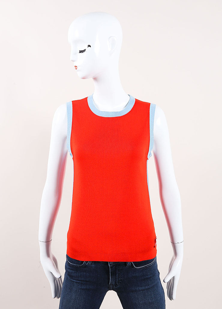 Chanel Red Sleeveless Top Front View