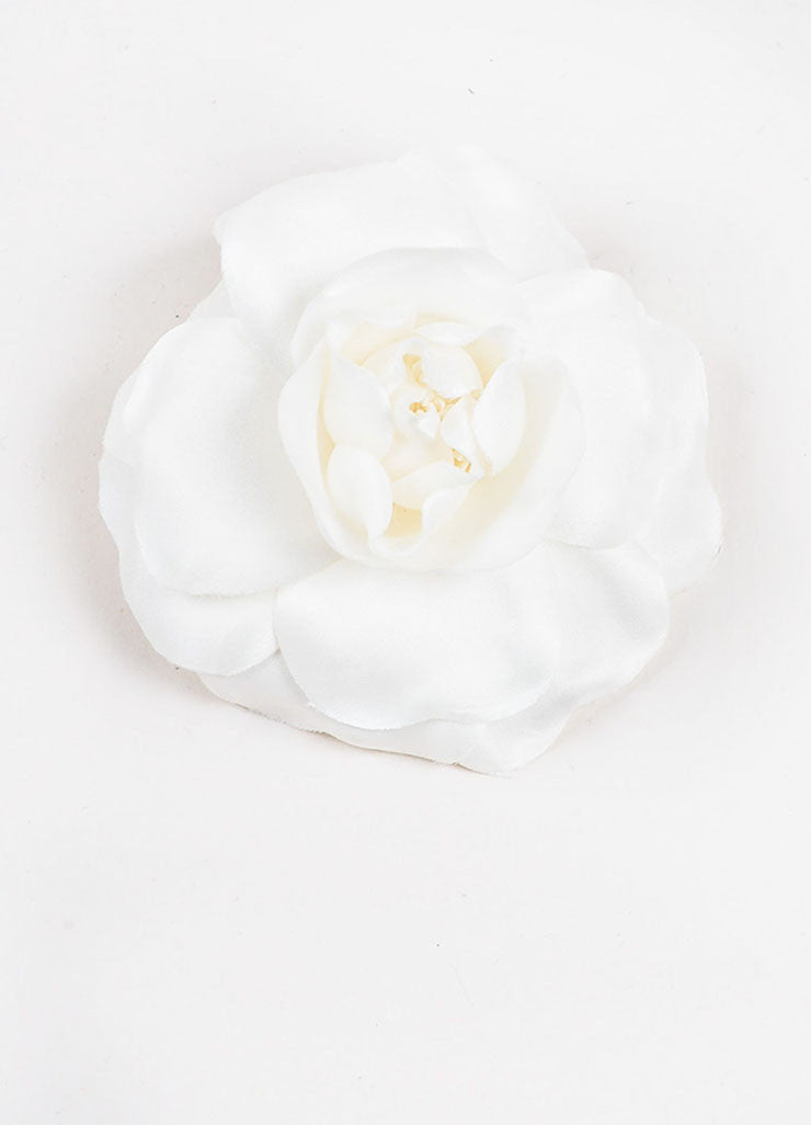 White Chanel Camellia Flower Brooch Pin Front