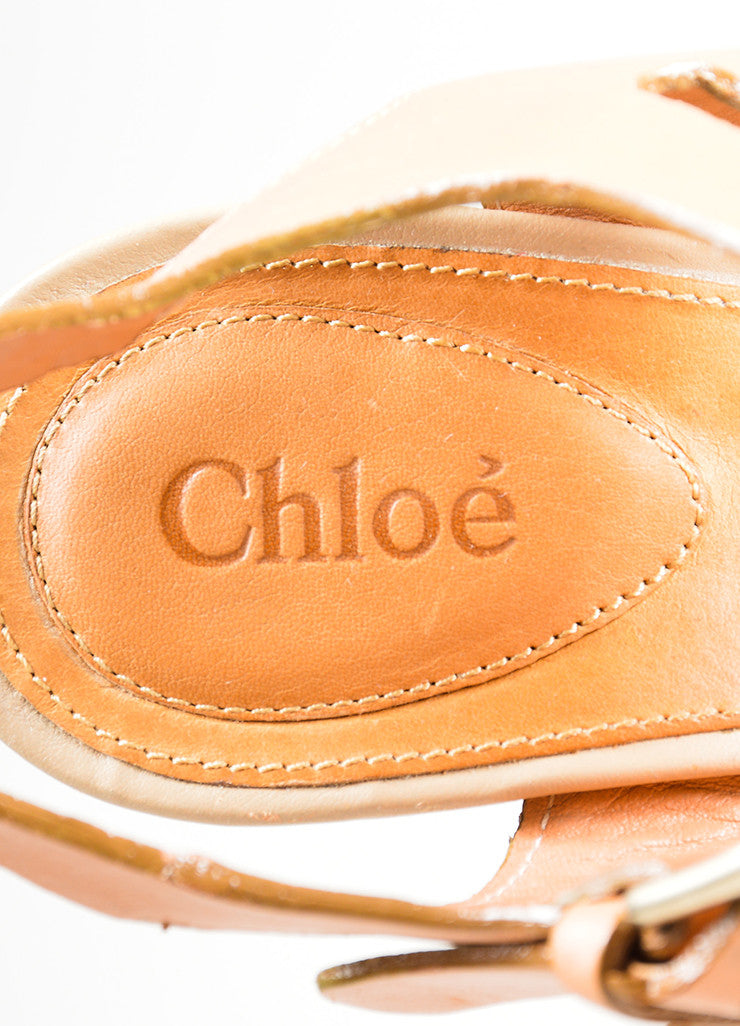 "Taupe Chloe Leather and Canvas Sandal Platform ""Groove"" Wedges Brand"