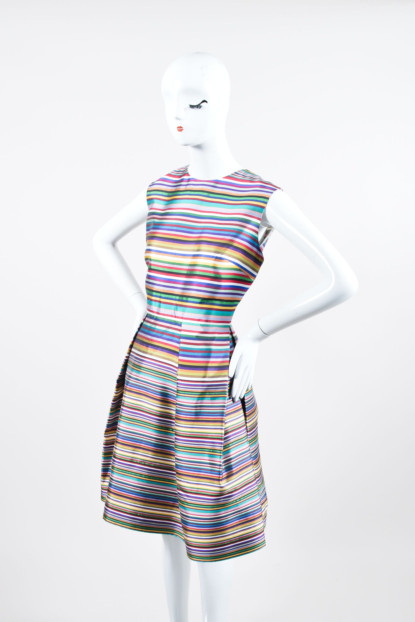 Multicolor Christian Dior Silk Stripe Pleated Sleeveless Dress Sideview