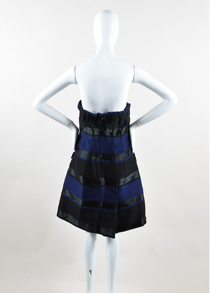 Christian Dior Navy Blue and Black Wool Striped Strapless Dress Backview