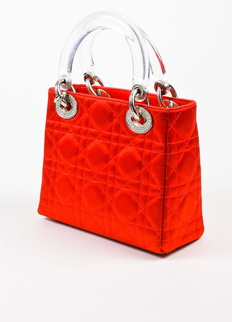 "Christian Dior Red Satin Quilted Acrylic Handle Rhinestone ""Mini Lady Dior"" Bag Sideview"