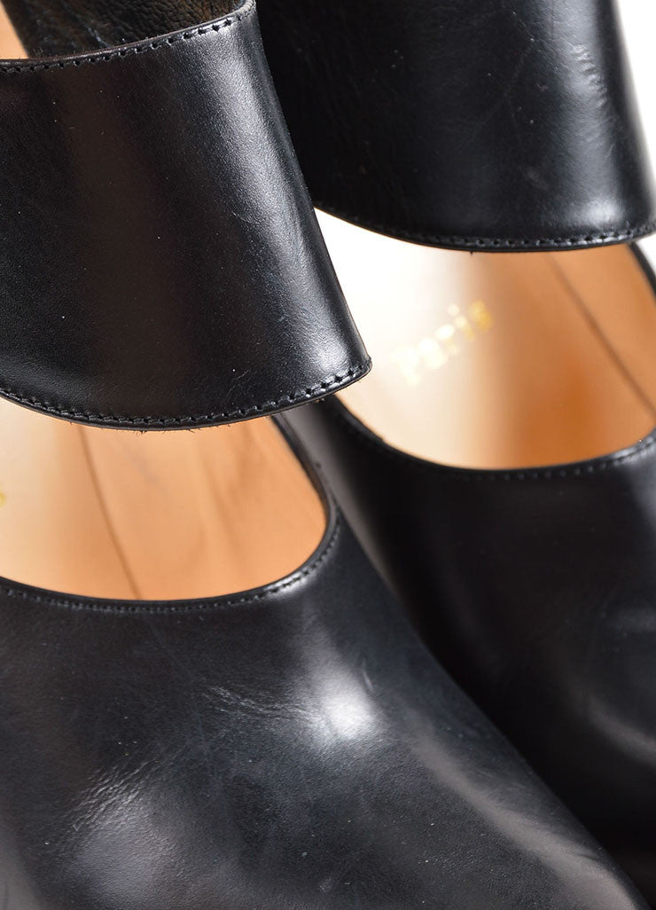 "Black Christian Louboutin Leather ""Miss Zorra"" Booties Detail"