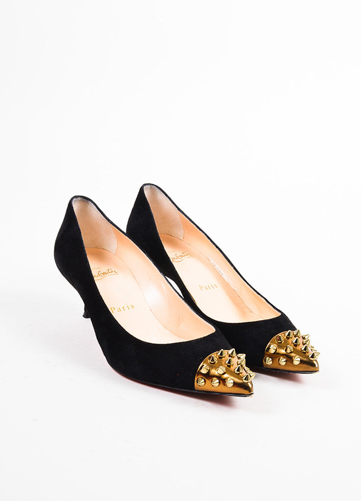 "Christian Louboutin Black and Gold Suede Spike Studded Cap Toe ""Geo 45"" Pumps Frontview"