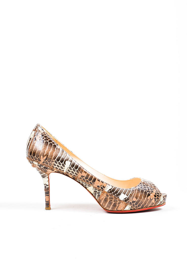 Brown Christian Louboutin Patchwork Watersnake Very Prive Peep Toe Pumps Sideview