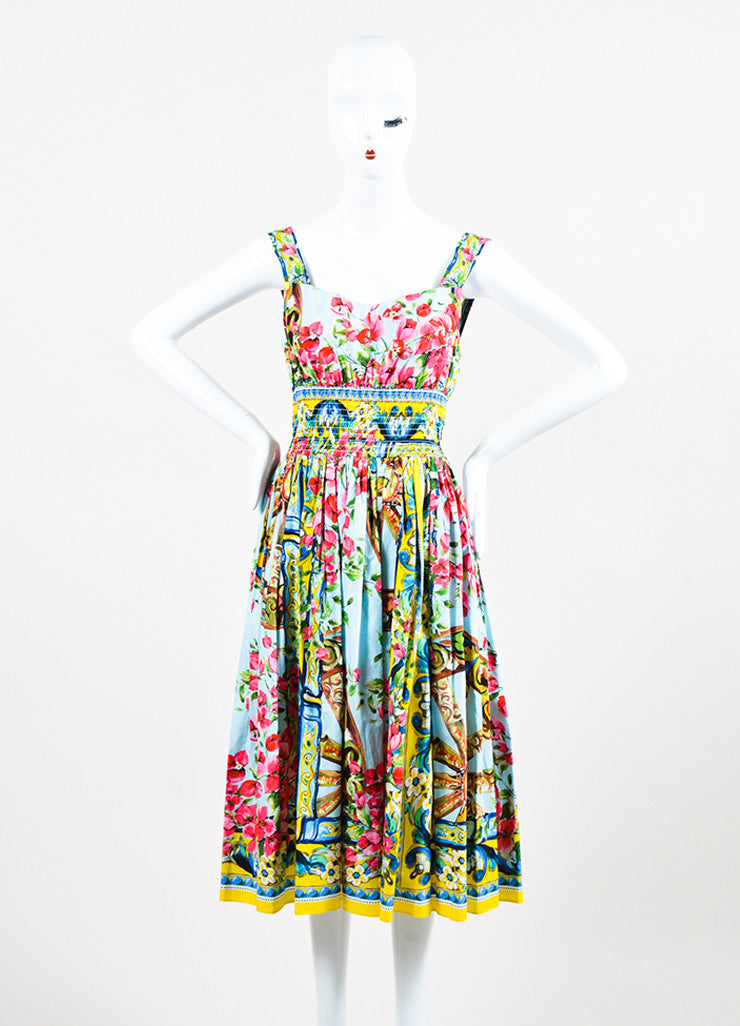 Dolce & Gabbana Multicolor Floral Sleeveless Dress Front 2
