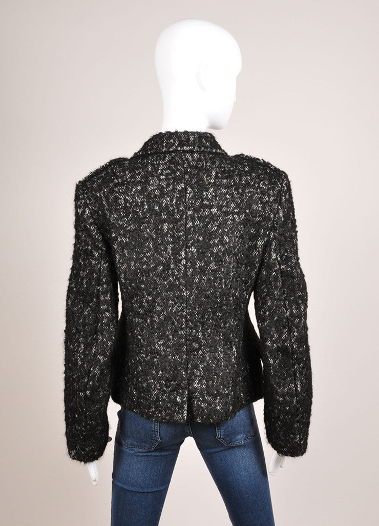 Dries van Noten Black and White Woven Knit Blend Double Breasted Coat Backview