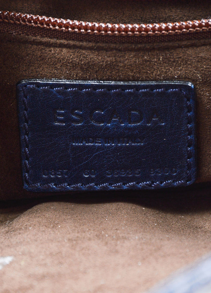Escada Navy Blue Snakeskin Handbag With Shoulder Strap Brand
