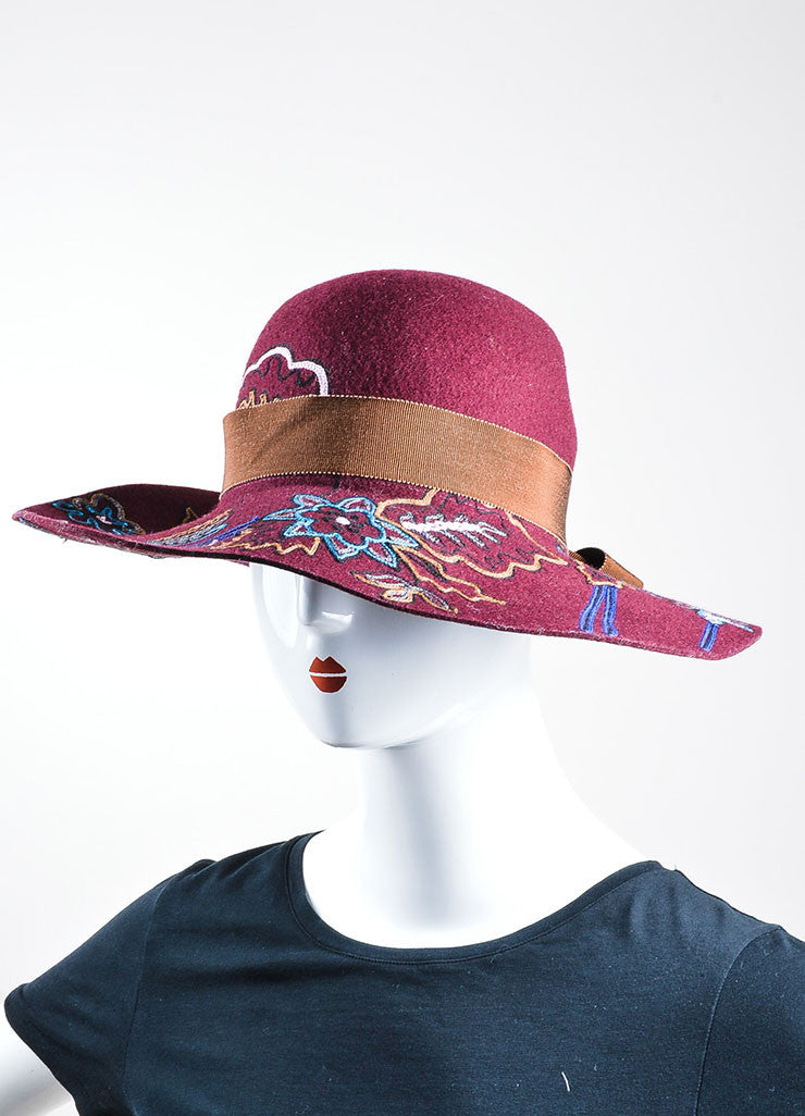 Maroon, Brown, and Blue Etro Wool Blend Embroidered Wide Brim Hat Sideview