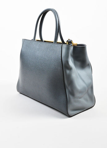 "Fendi Grey and Gold Toned Saffiano Leather ""2Jours Medium Satchel"" Bag Sideview"