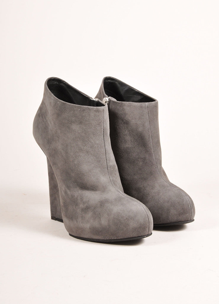 "Giuseppe Zanotti Grey Suede Leather Wedge Ankle ""Daisy"" Booties  Frontview"