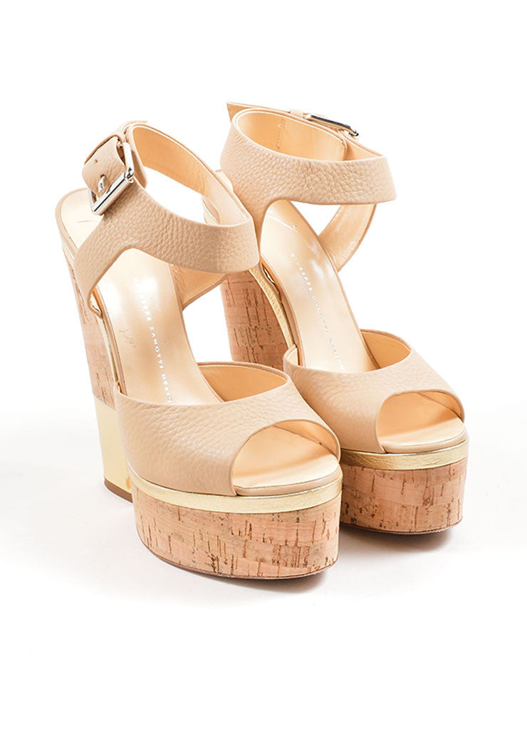 Giuseppe Zanotti Tan and Gold Leather Metallic Cork Platform Sandals Frontview