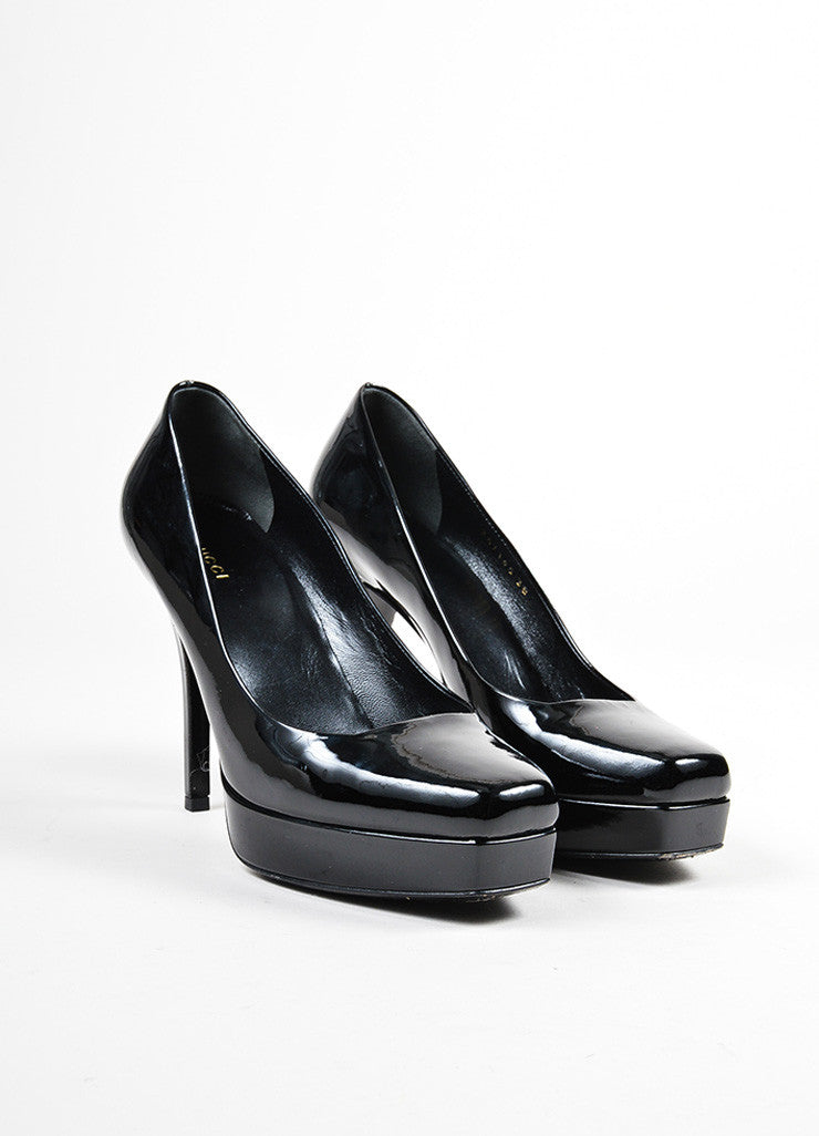 "Black Gucci Patent Leather Platform Square Stiletto Heel ""Tile"" Pumps Frontview"