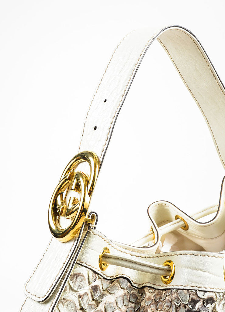 "Gucci Cream and Brown Python Leather Drawstring ""Interlocking Icon"" Hobo Bag Detail 2"