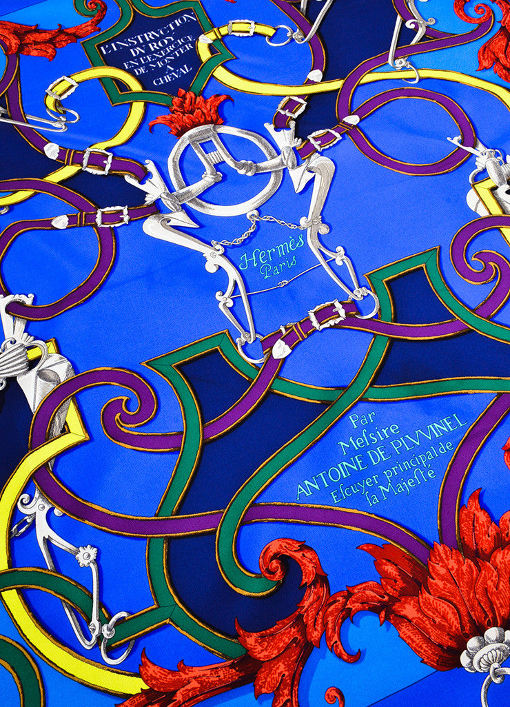 "Multicolor Hermes Silk Horse Bridle Print ""L'Instruction Du Roy"" Scarf Detail"