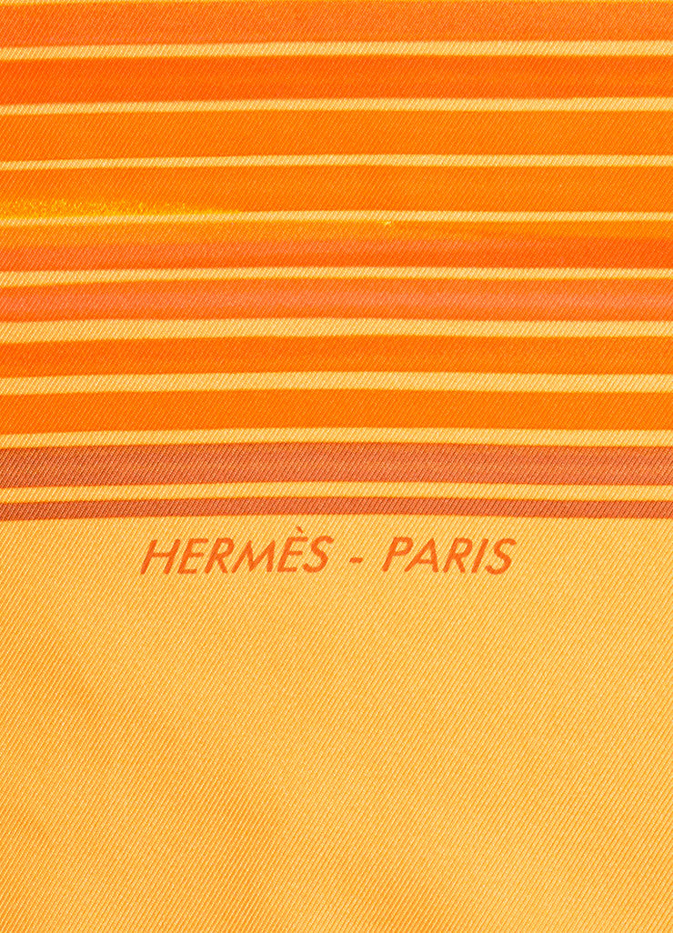 "Orange Hermes Silk Twill Stripe Printed ""Faubourg Express"" 90cm Scarf Brand"