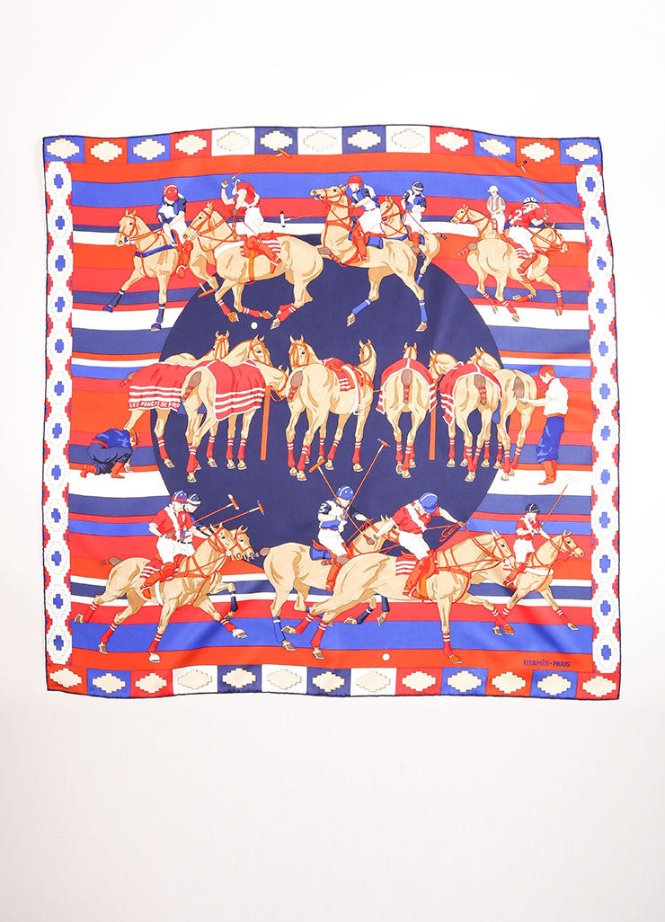 "Hermes Red and Blue Silk Polo Player and Horse Print ""Les Poneys de Polo"" Scarf Frontview"