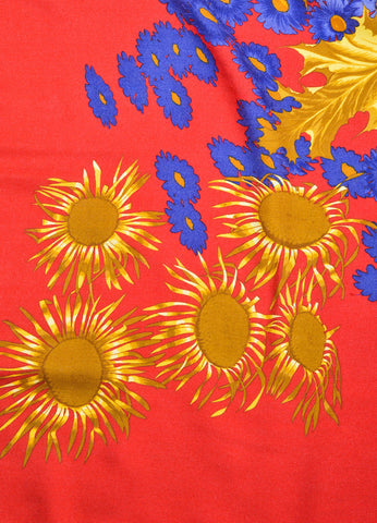 "Red, Gold, and Blue Hermes Floral ""Fleurs et Carlines"" Cashmere and Silk Scarf Detail"