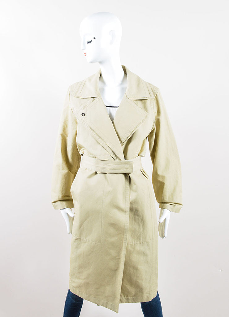 Hermes Tan Khaki Belted Trench Coat Frontview