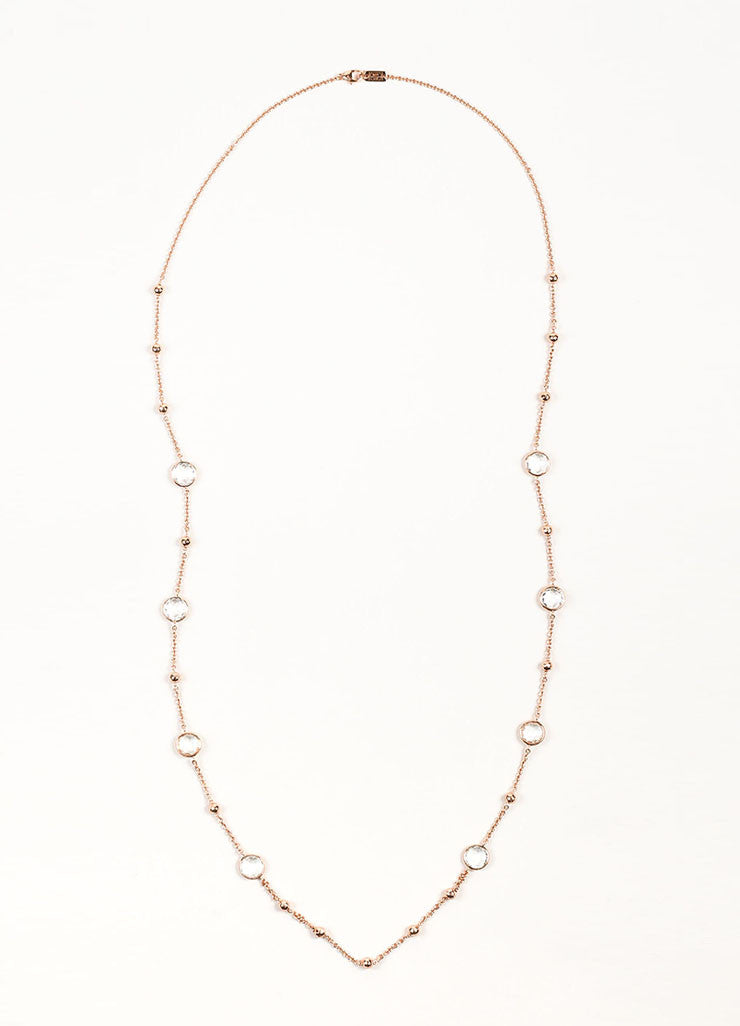 "Ippolita Rose Gold Plated Sterling Silver and Clear Quartz ""Lollipop"" Long Necklace Frontview"