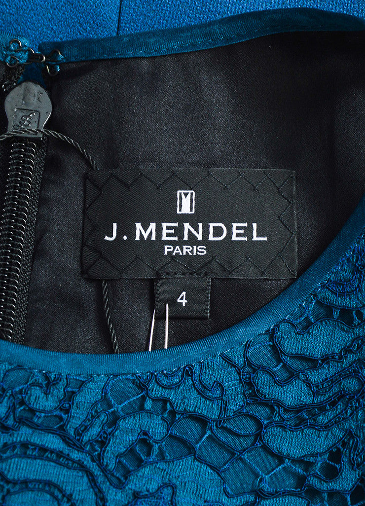J. Mendel Dark Teal Crepe Lace High Necklace Sleeveless Gown Brand