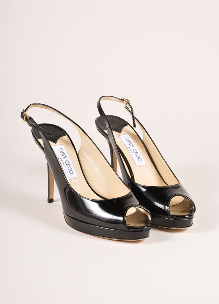"Jimmy Choo New In Box Black Patent Leather ""Nova"" Platform Slingback Pumps Frontview"