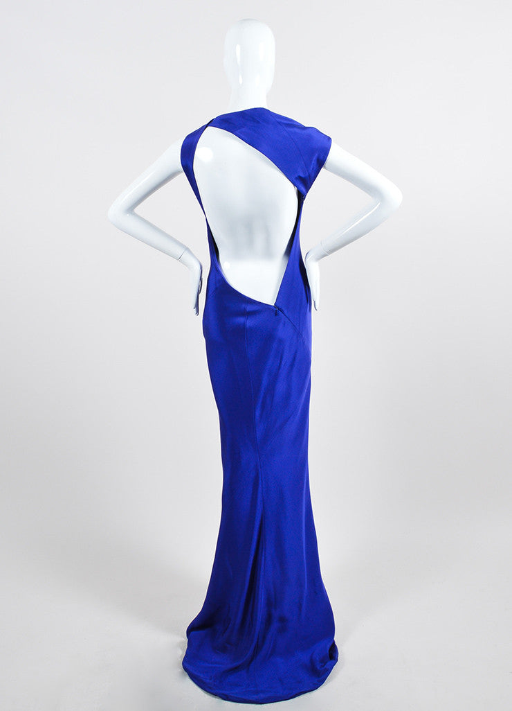 Blue Kaufmanfranco Silk Sleeveless Geometric Open Back Gown Backview