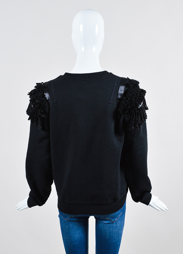 Koza Black Fringe Epaulette Long Sleeve Pullover Sweatshirt Backview