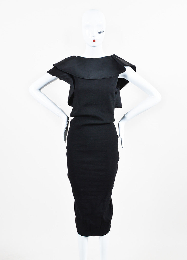Lanvin Black Twill Silk Oversized Ruffle Ruched Sleeveless Cocktail Dress Frontview
