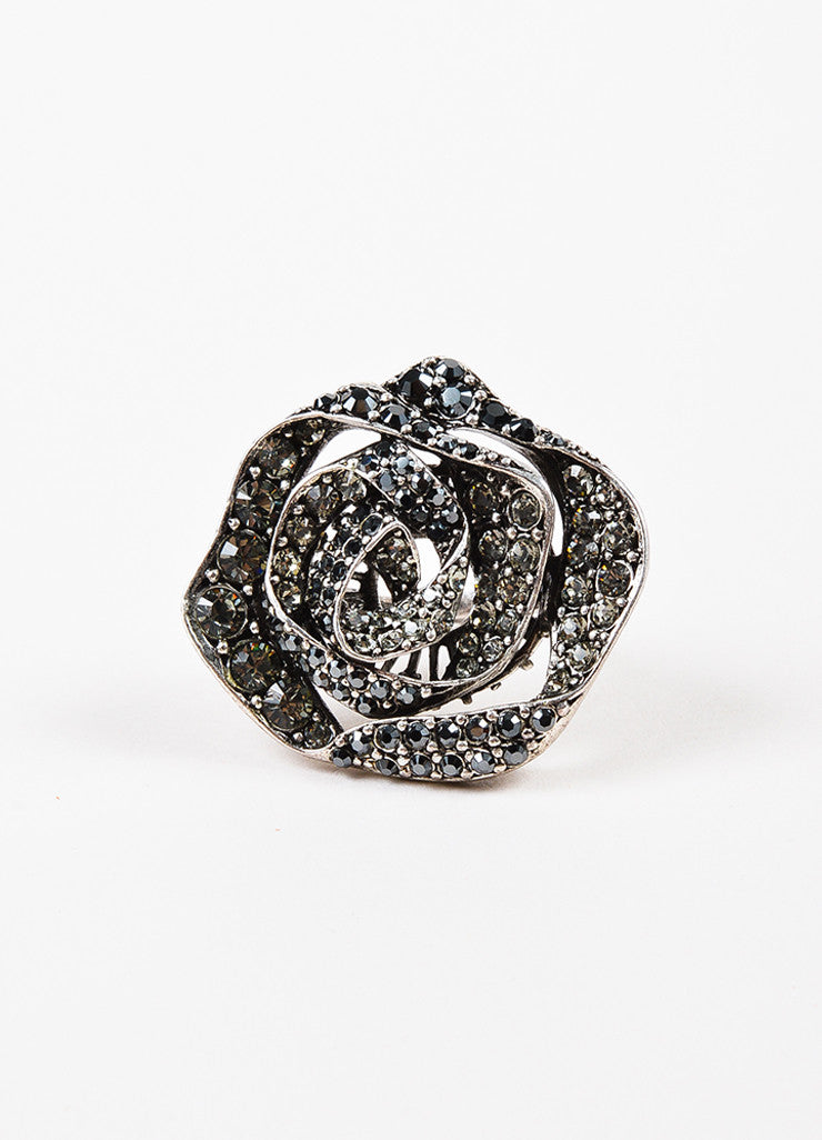 Lanvin Silver Toned Metal Rhinestone Embellished Rose Ring Frontview