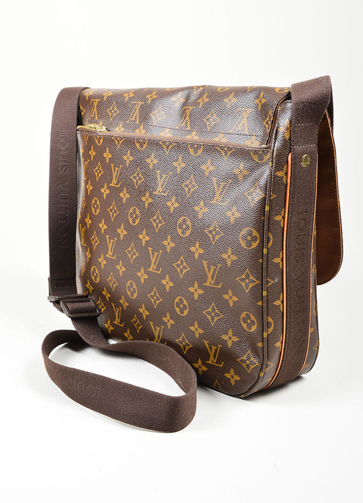 "Brown and Tan Louis Vuitton Monogram Coated Canvas ""Beaubourg GM"" Messenger Bag Sideview"