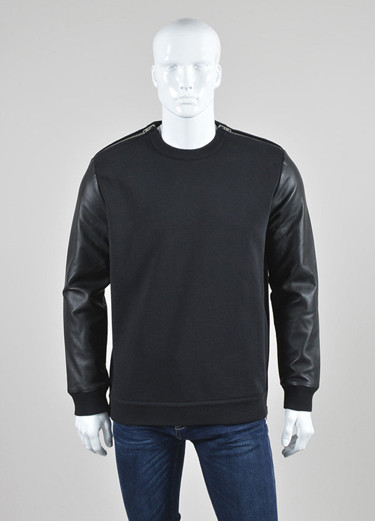 Men's Black Givenchy Leather Sleeve Zip Detail Pullover Sweatshirt Front