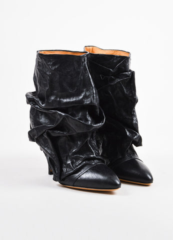 Black Maison Martin Margiela Leather Crinkle Fold Over Boots Front