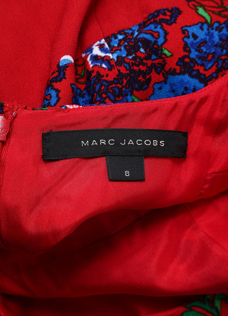 Marc Jacobs New With Tags Red and Blue Floral Print Cap Sleeve Open Back Dress Brand