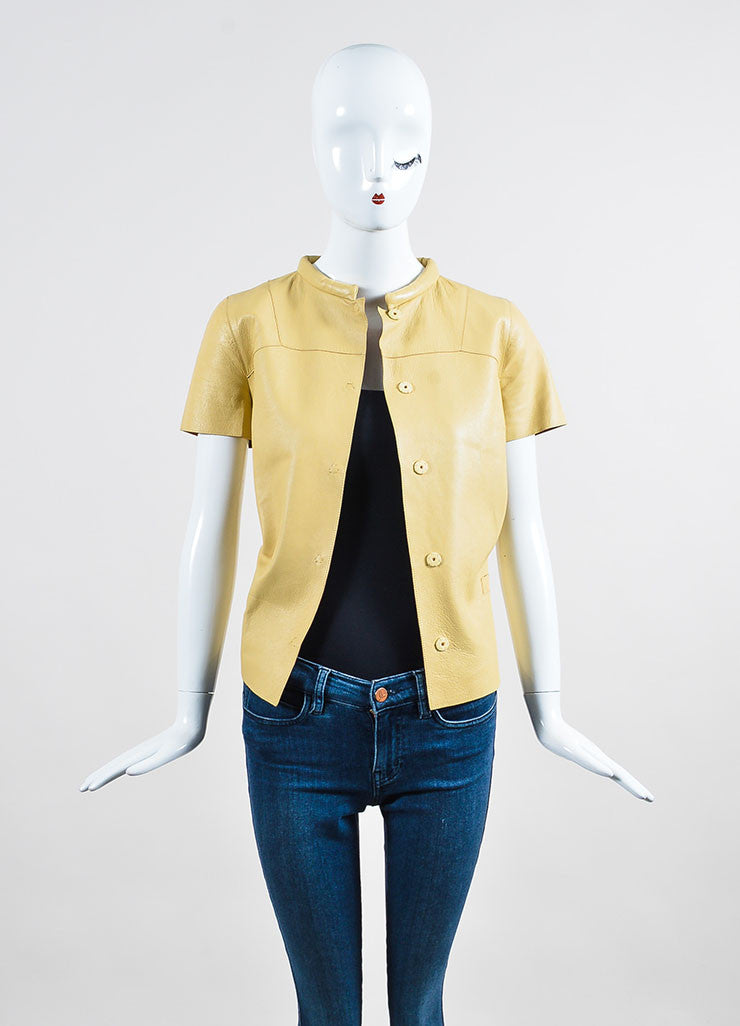 Beige Marni Leather Round Collar Short Sleeve Button Up Top Frontview