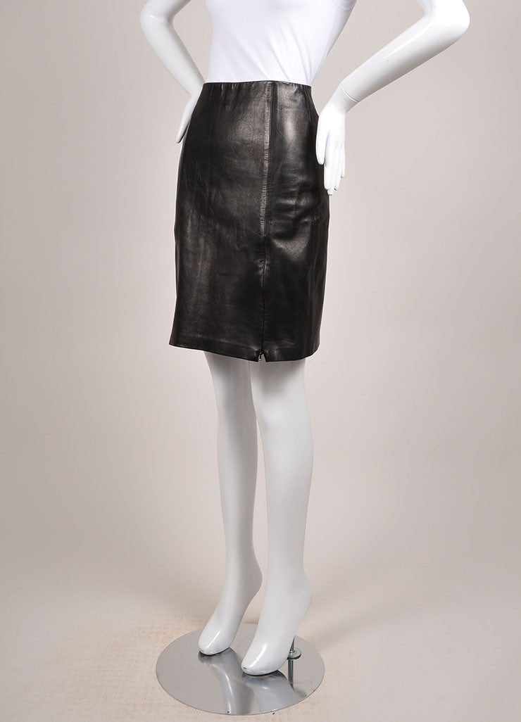 Michael Hoban Black Leather Zip Front Pencil Skirt Sideview