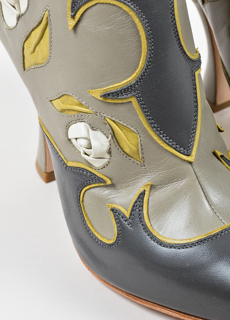 Miu Miu Grey, Yellow, and Cream Leather Floral Western Heeled Boots Detail