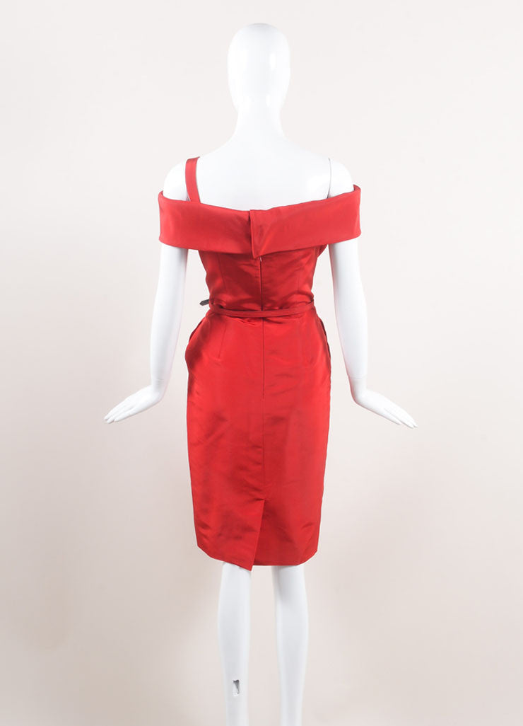 Oscar de la Renta New With Tags Red Off Shoulder Silk Faille Sheath Dress Backview
