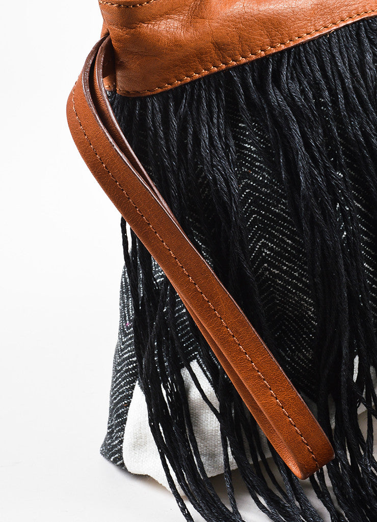 Pomandere Black, Brown, and White Canvas and Leather Fringed Herringbone Clutch Detail 2