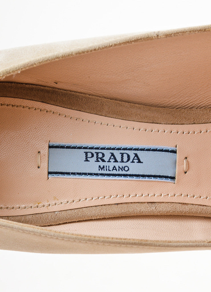 Prada Beige Suede Leather Hidden Platform Almond Toe Pumps Brand