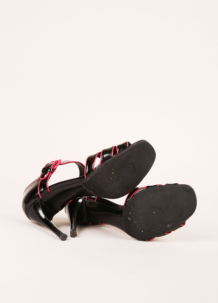 Prada Black and Hot Pink Patent Leather Sandal Heels Outsoles
